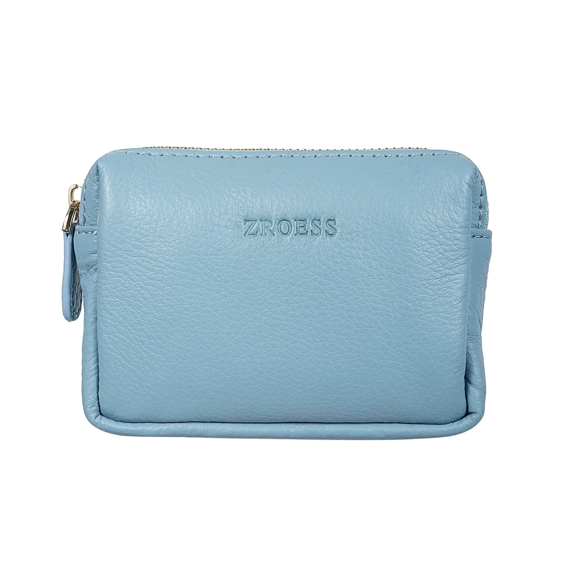 ZORESS Mini Soft Leather Coin Purse Card Holder with Key Chain (Blue)