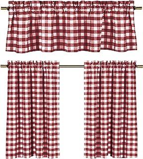 Wine Red White Gingham Checkered Design Kitchen Curtain, 3 Pc