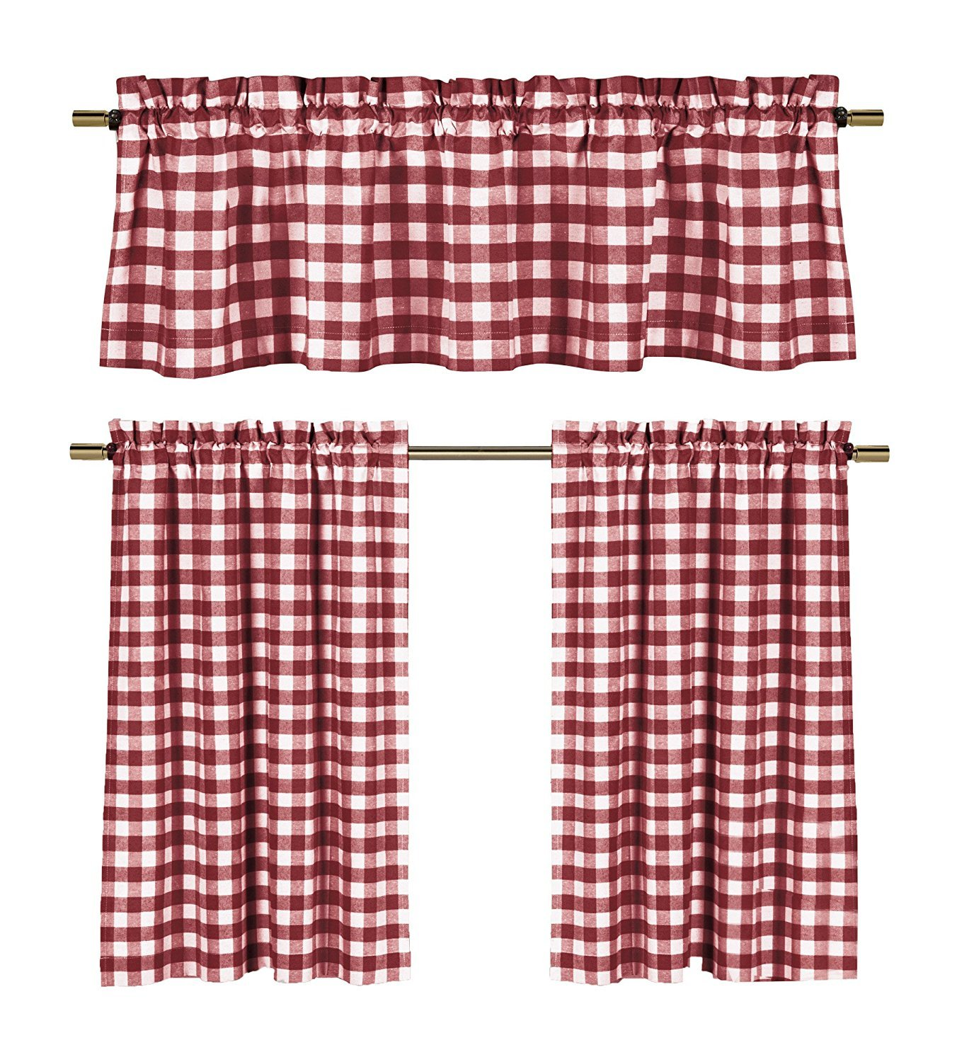 Wine Red White Kitchen Curtains: Gingham Checkered Plaid Design COMINHKPR126768