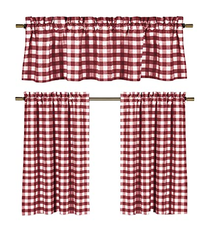 Wine Red White Kitchen Curtains Gingham Checkered Plaid Design