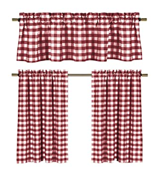 Amazon Com Wine Red White Kitchen Curtains Gingham Checkered
