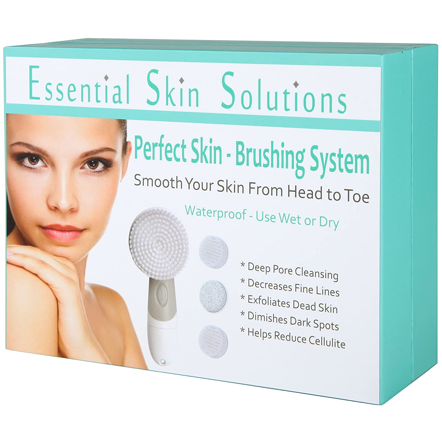 Amazon: Essential Skin Solutions  Face And Body Brush Cleansing System  €� Exfoliating Facial Brush Microdermabrasion Pore Minimizer To Clean Skin +  Help