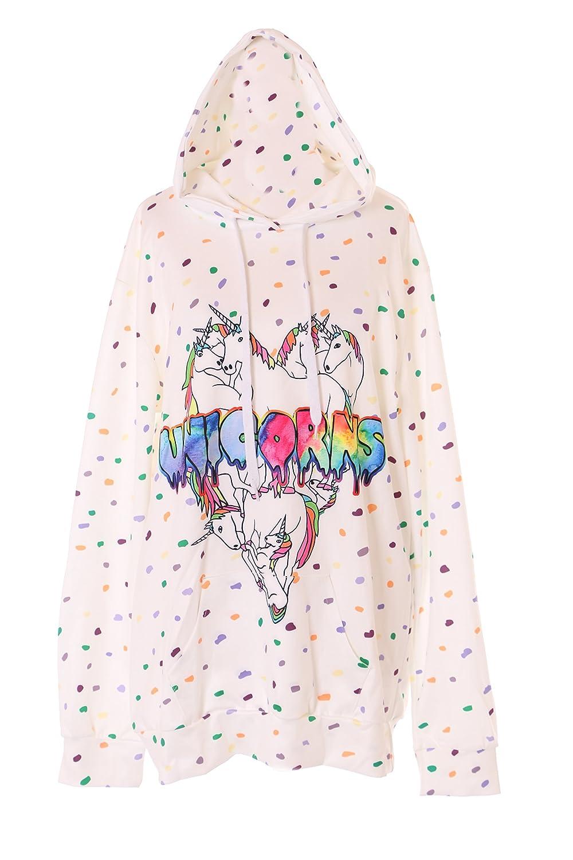 Kawaii-Story Ty-B-061 Unicorn Einhorn Weiß Gepunktet Pastel Goth Lolita Pullover  Kapuzen-Sweatshirt Harajuku Japan  Amazon.de  Bekleidung 0ffd9b1cc3