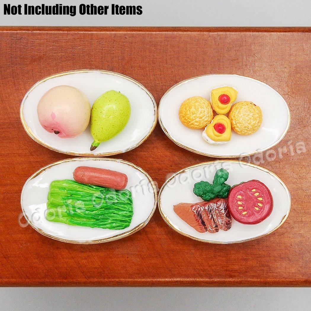 Odoria 1:12 Miniature 4PCS Assiette Ovale avec Bordure Dorée Cuisine de Maison de Poupées