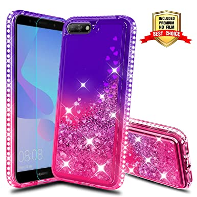 new product d1a8d de665 ATUMP Case for Huawei Y6 2018 Phone cases with Screen Protector, Girl 3D  Glitter Liquid Cute Clear Transparent Silicone Gel TPU Shockproof Phone  Cover ...
