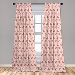 Ambesonne Dog Lover Curtains, Little Corgi Jumping Running and Standing Cartoon Hearts Background, Window Treatments 2 Panel Set for Living Room Bedroom Decor, 56