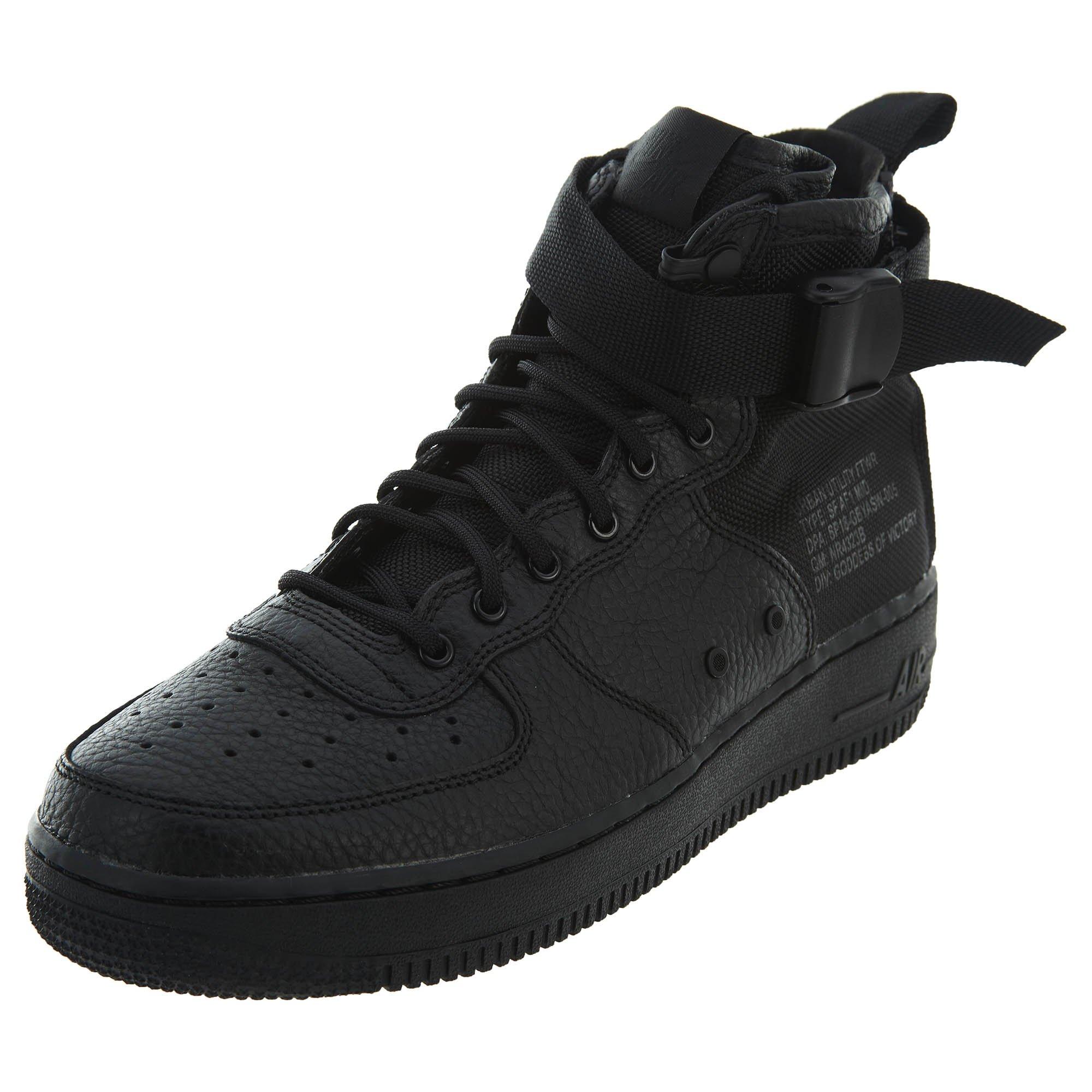 Nike SF AF1 Air Force Mid GS Hi Top Trainers AJ0424 Sneakers Shoes (UK 6 US 6.5Y EU 39, Black Black Black 003)