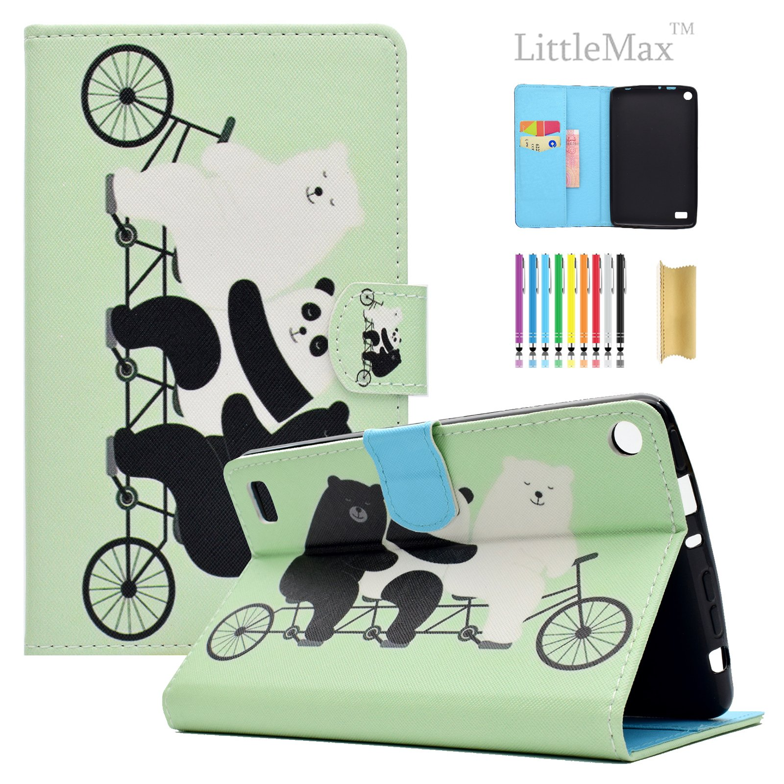 Kindle Fire 7 Case,LittleMax Ultra Slim PU Synthetic Leather Case Flip Stand [Magnetic Closure] Cover for Amazon Kindle Fire 7 5th Gen 2015 version with 1 Free Stylus-01 Cute Panda&Bear