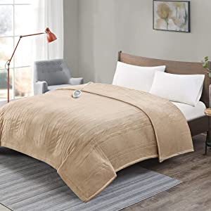 Degrees of Comfort [Advanced] Microplush Electric Blanket for Bed & Living Room | Machine Washable Heated Blanket W/Auto Shut Off | Preheat Setting | UL Certified and EMF Radiation Safe - Beige