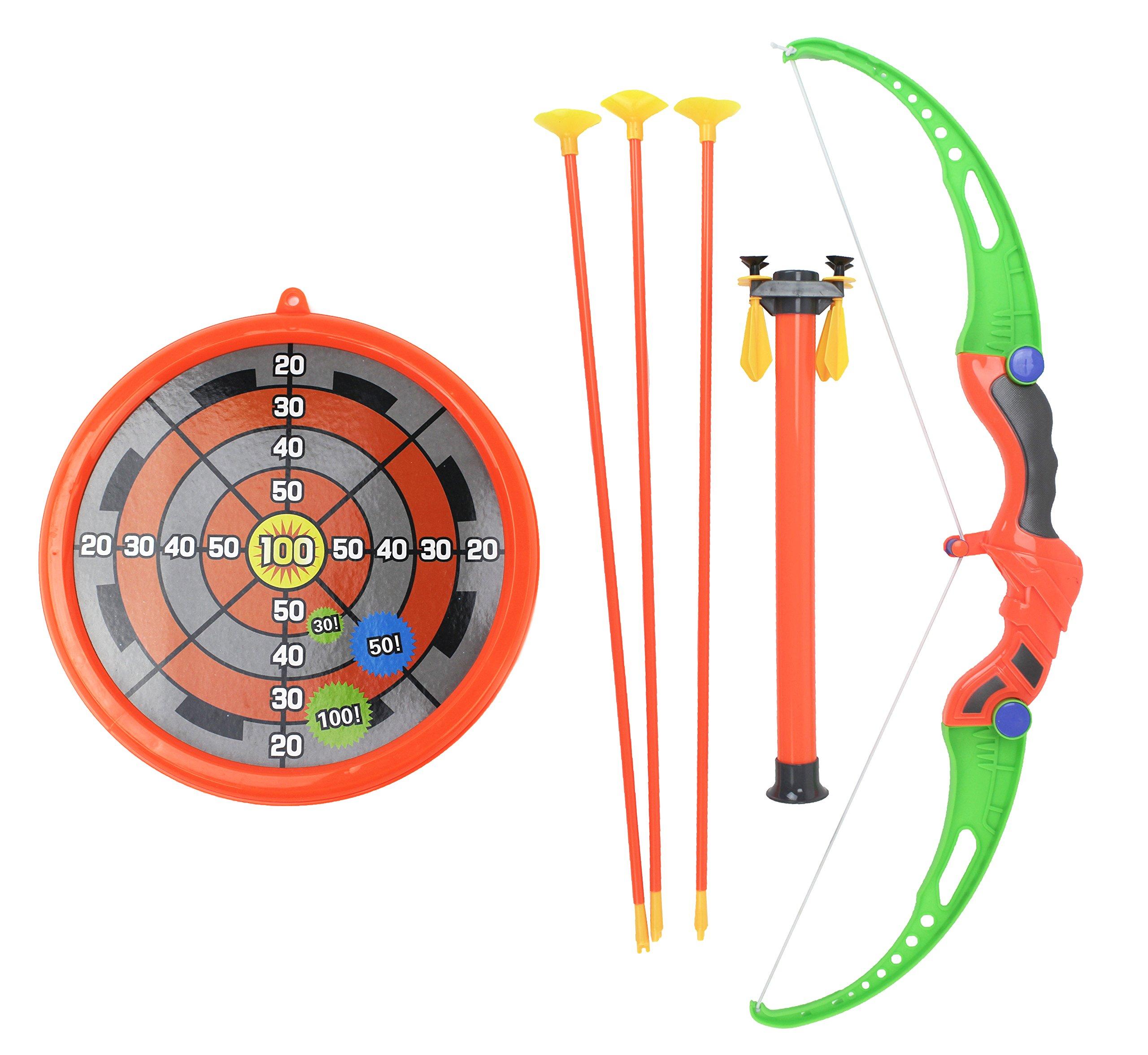 Super Shoots Archery Toy Bow & Arrow Playset w/ Bow, 3 Large Suction Cup Arrows, 4 Mini Suction Cup Arrows, Blowgun, & Target Circle