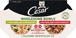 Cesar Wholesome Bowls Adult Soft Wet Dog Food Variety Pack, Chicken, Carrots, Barley & Green Beans Recipe and Beef, Chicken, Purple Potatoes & Carrots Recipe, (6) 3 oz. Bowls