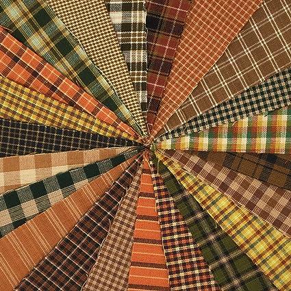 40 Autumn Spice Charm Pack 5 inch Precut Cotton Homespun Fabric Squares by JCS