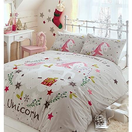 Portfolio Unicorns Christmas Kids Duvet Cover Bed Set Polycotton