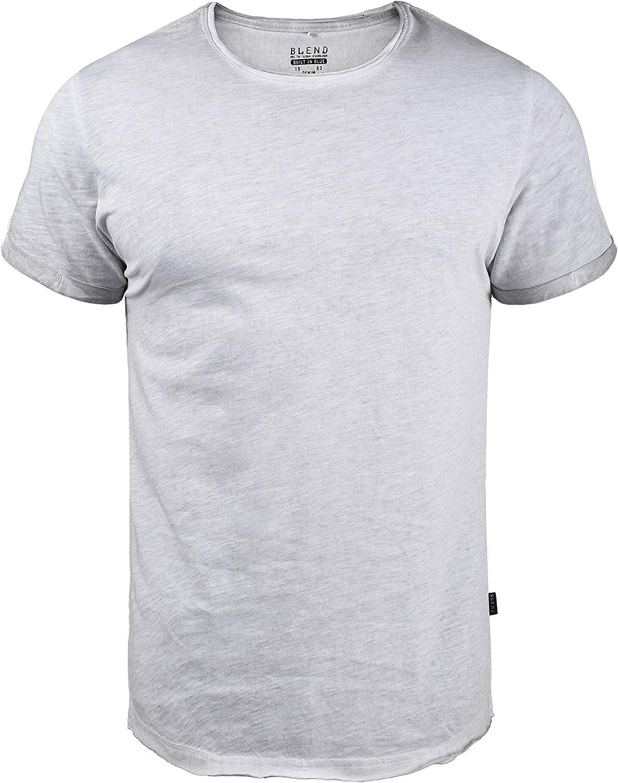 Blend Mino Camiseta Básica De Manga Corta T-Shirt para Hombre con Cuello Redondo, tamaño:S, Color:Chip Grey (75153): Amazon.es: Ropa y accesorios