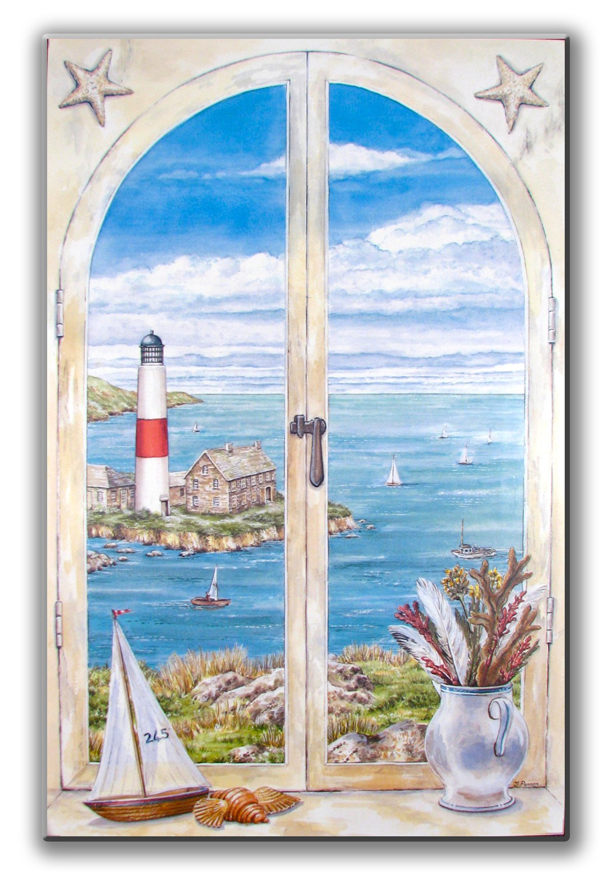 Stupell Home Décor Decorative Faux Window Scene, Montauk Light, 22 x 0.5 x 33, Proudly Made in USA