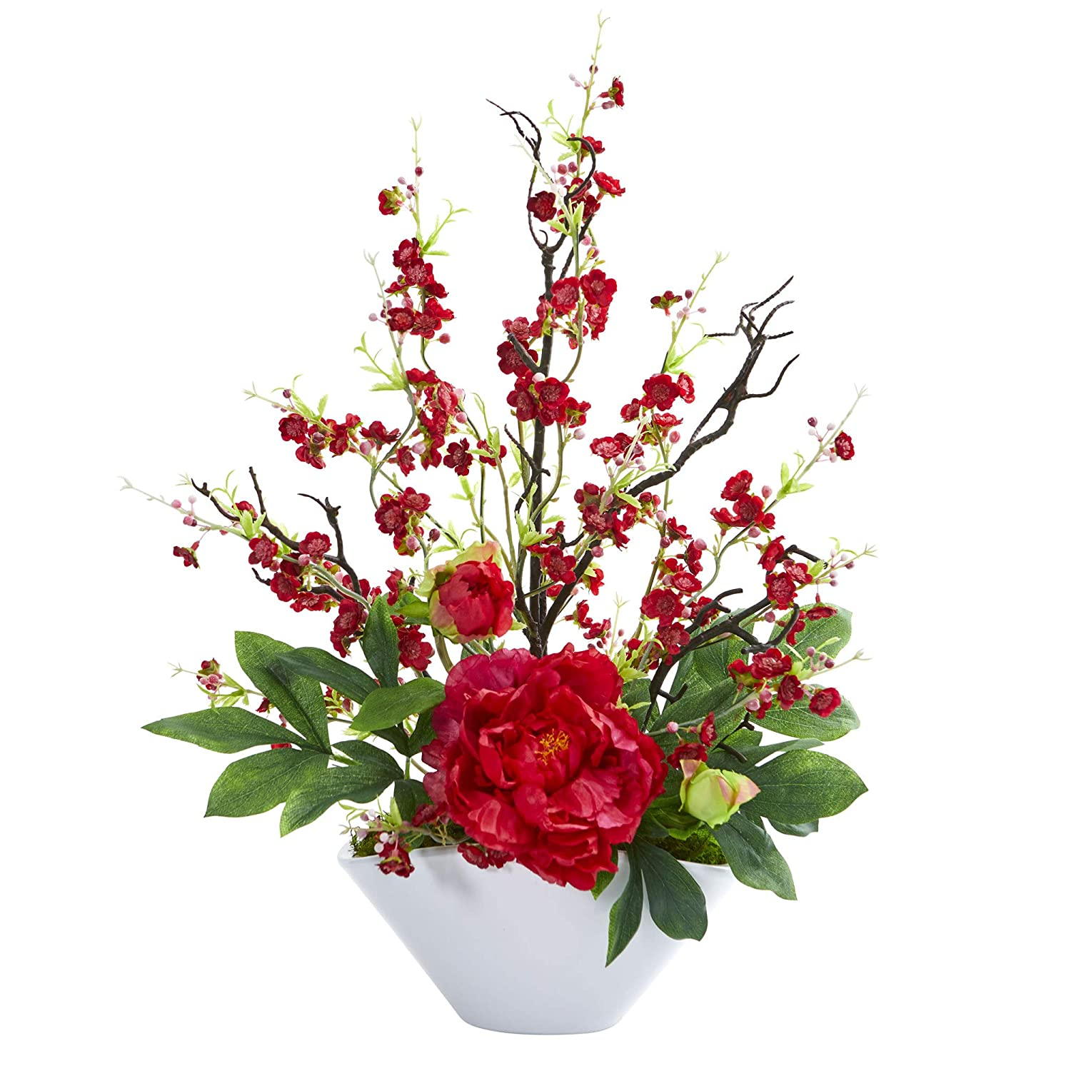 Nearly Natural 1741-RD Cherry Blossom /& Peony Artificial Silk Arrangements Red