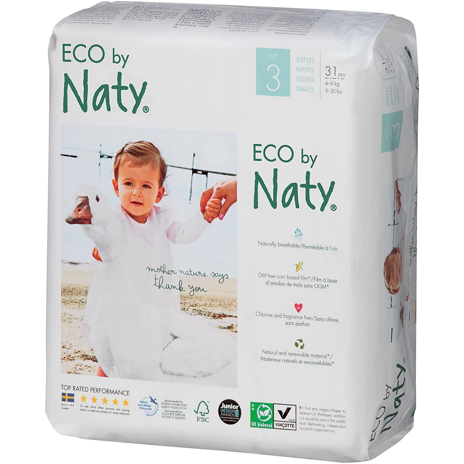 Amazon.com: Branded Naty, ECO By Naty Diapers, Size 3, 31 Diapers , Weight 28lbs - Branded Diapers with fast delivery (Soft and Comfortable for Babies): ...