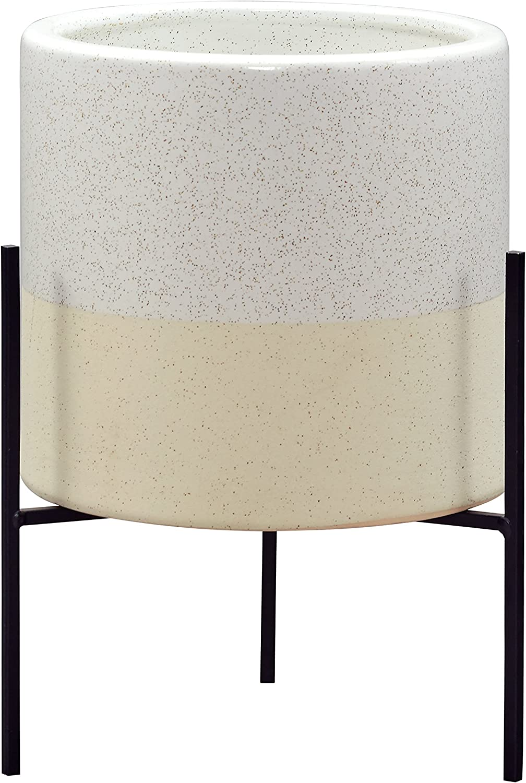 "Amazon Brand – Rivet Mid-Century Ceramic Planter with Stand, 14""H, White"