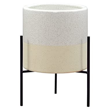 Rivet Mid-Century Ceramic Planter with Stand, 14 H, White