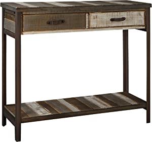 RANDEFURN Rustic Solid Wood Sofa Table,Console Table with 2 Drawers and Shelf, 35x12x31.5 inches, Entryway Table with Storage, Metal Legs, Coffee Table Antique Country Style, Living Room,Hallway,white