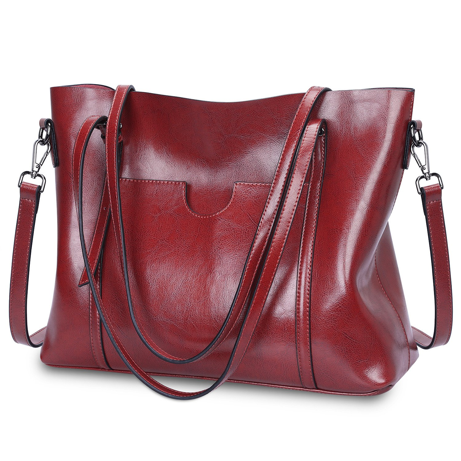 S-ZONE Women Genuine Leather Tote Purse Daily Casual Shoulder Bag Large Capacity (Wine Red)