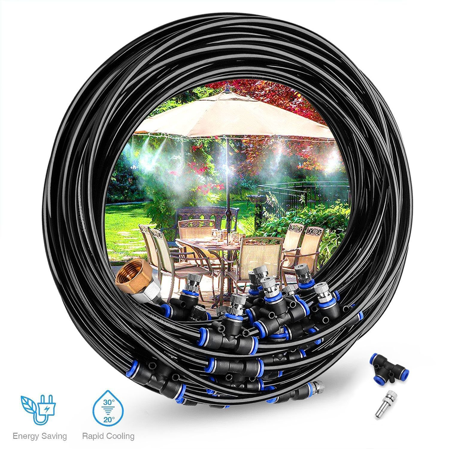 Gesentur [Upgraded 2018] Misting Cooling System - 59ft(18M) Misting Line + 23 Metal Mist Nozzles + a Brass Adapter(3/4) for Outdoor Patio Garden Home Irrigation Trampoline