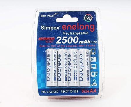 Simpex enelong Rechargeble Ni MH Batteries 2500mAh 1.2V AA