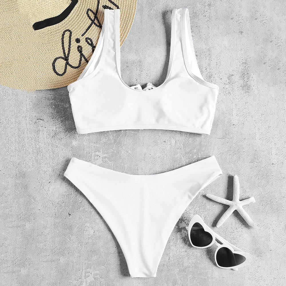 ZAFUL Bikini Set Bralette Bikinis mit Schn/ürung O-Rings High Cut Einfarbiges Badeanzug Bikini-Set Swimsuit