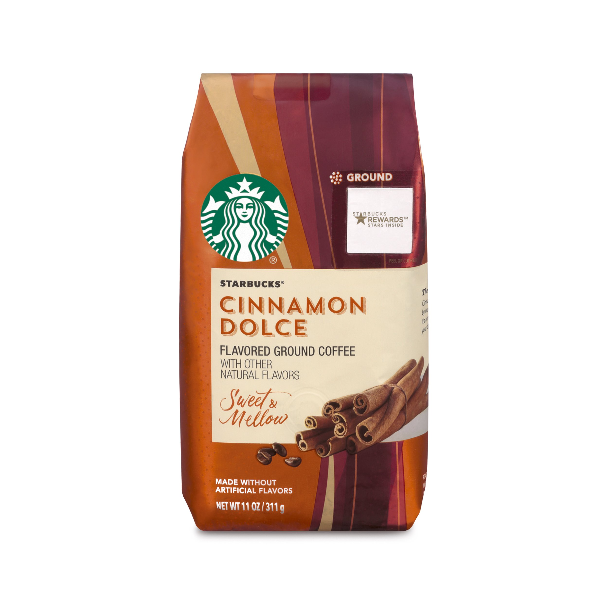 Starbucks Cinnamon Dolce Flavored Blonde Light Roast Ground Coffee, 11-Ounce Bag (Pack of 6) by Starbucks