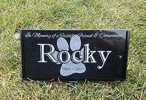 UTF4C Personalized Pet Dog Stone Memorial Engraved Marker Granite Border Collie Stand Display Combo Garden Plaque Markers Rainbow Bridge