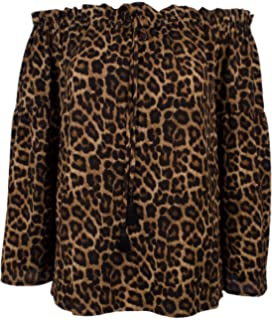 MICHAEL Michael Kors Verbena Animal Print Off-the-Shoulder Tassel Tie Top