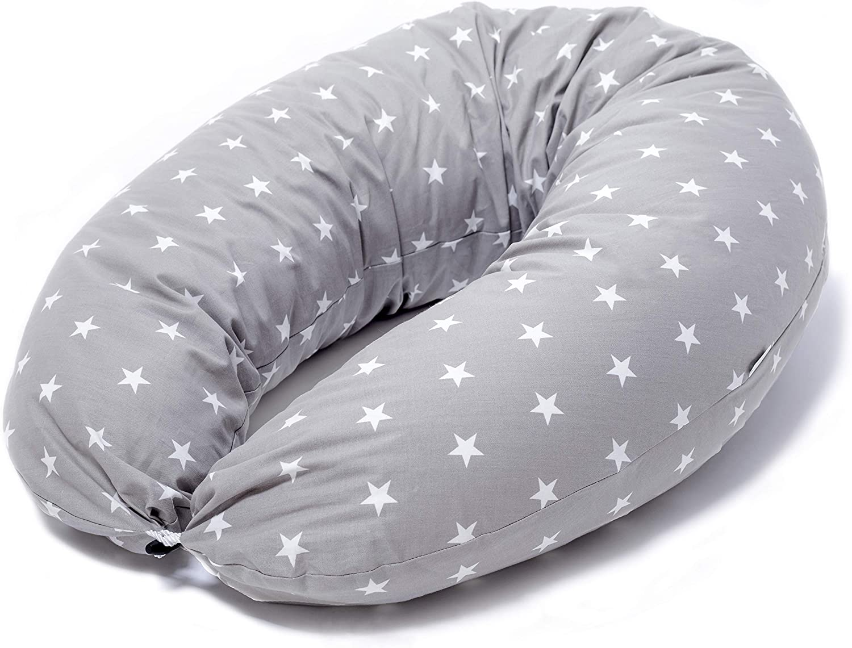Niimo Cojin Lactancia Bebe y Almohada Embarazada Dormir Multifuncion Funda Cojin 100% Algodon Desenfundable y Lavable Relleno de Poliester Multiusos Maternidad (Gris-Estrella Blanca)