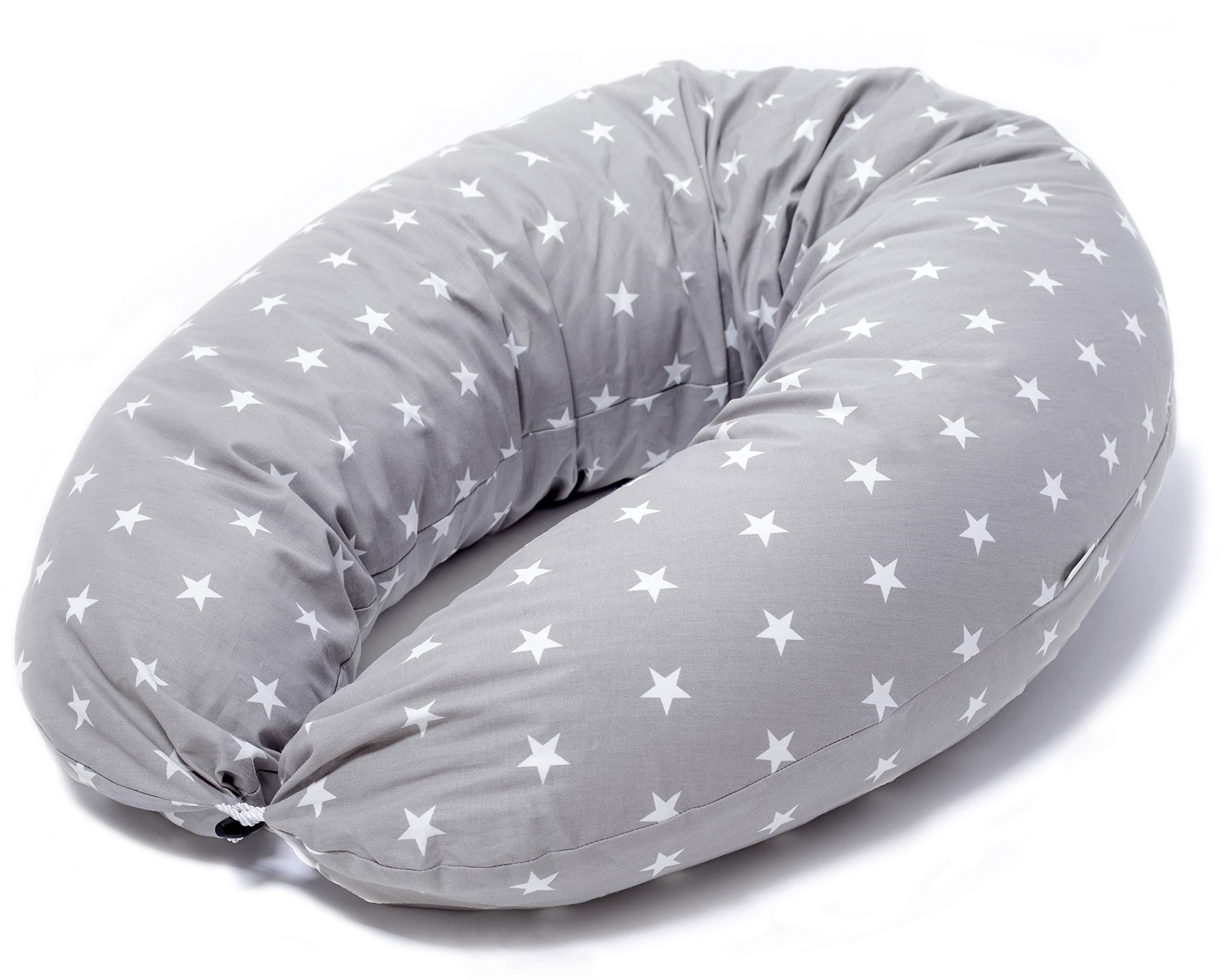 Cojin Lactancia Bebe & Almohada Embarazo Dormir | Funda Cojin 100% Algodon Color Gris con Estrellas Blancas, Desenfundable y Lavable | Relleno de Fibra ...