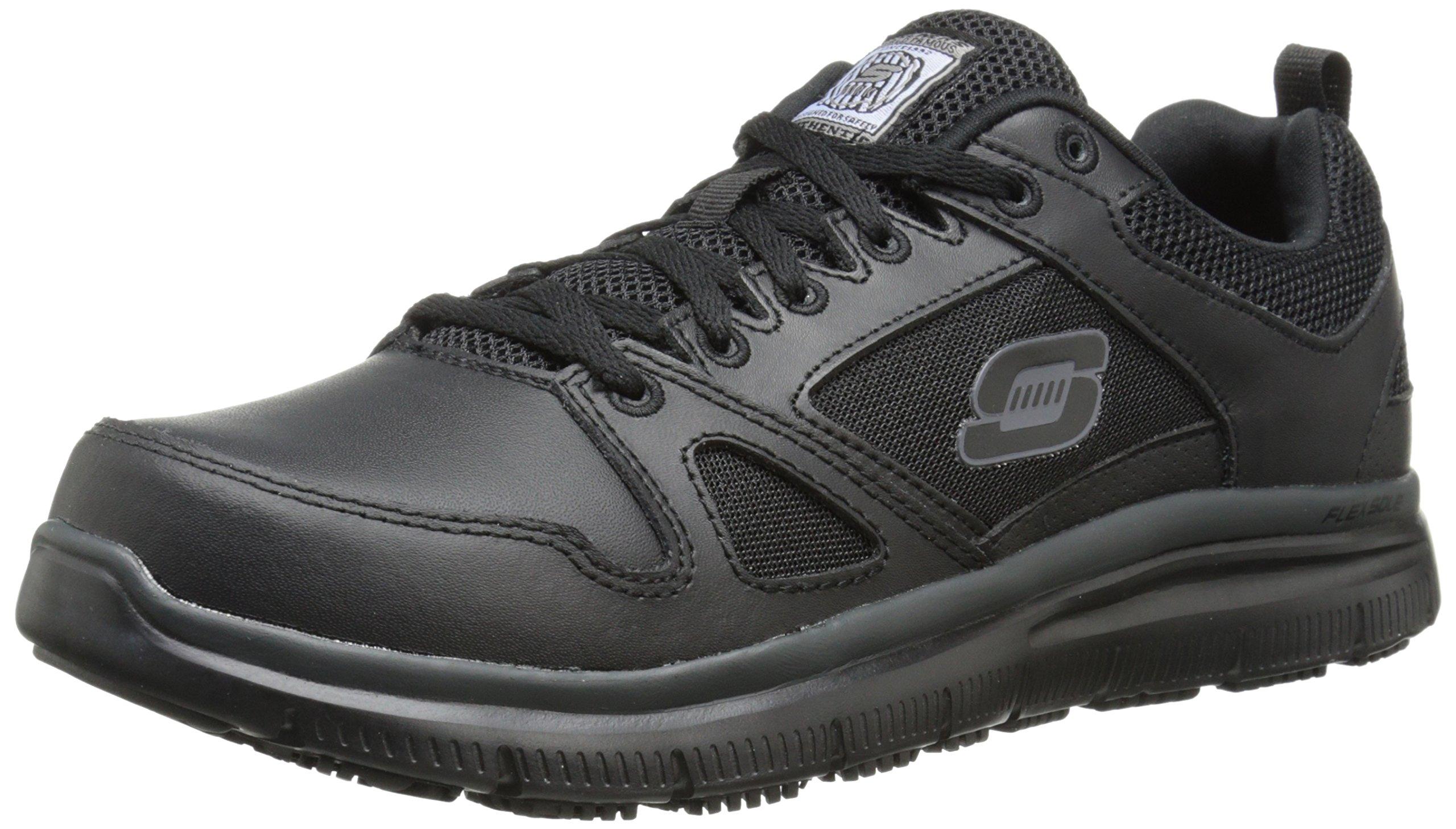 Skechers for Work Men's Flex Advantage Slip Resistant Oxford Sneaker, Black, 11 W US