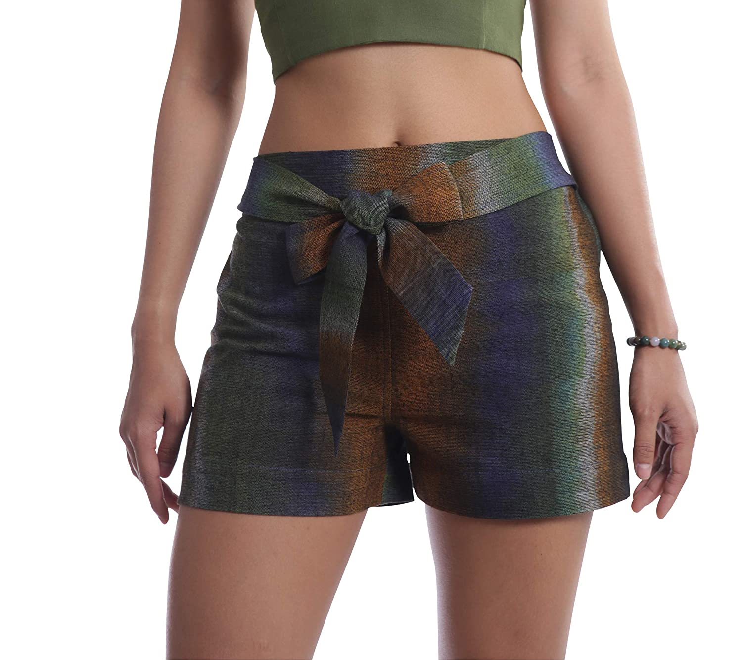 Multicolord Tropic Bliss Organic Cotton Tie Shorts for Women, Hand Dyed, Comfy Boho Style