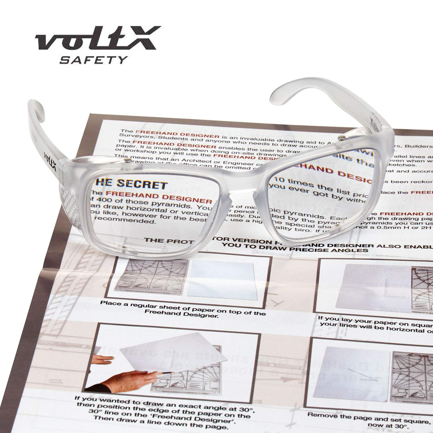 -Anti fog coated UV400 lens +2.5 Dioptre, Clear lens voltX CRYSTAL Full Lens Magnified Reading Safety Glasses CE certified FREE YELLOW CLASSIC BIFOCAL SAFETY GLASSES WITH EACH PURCHASE.