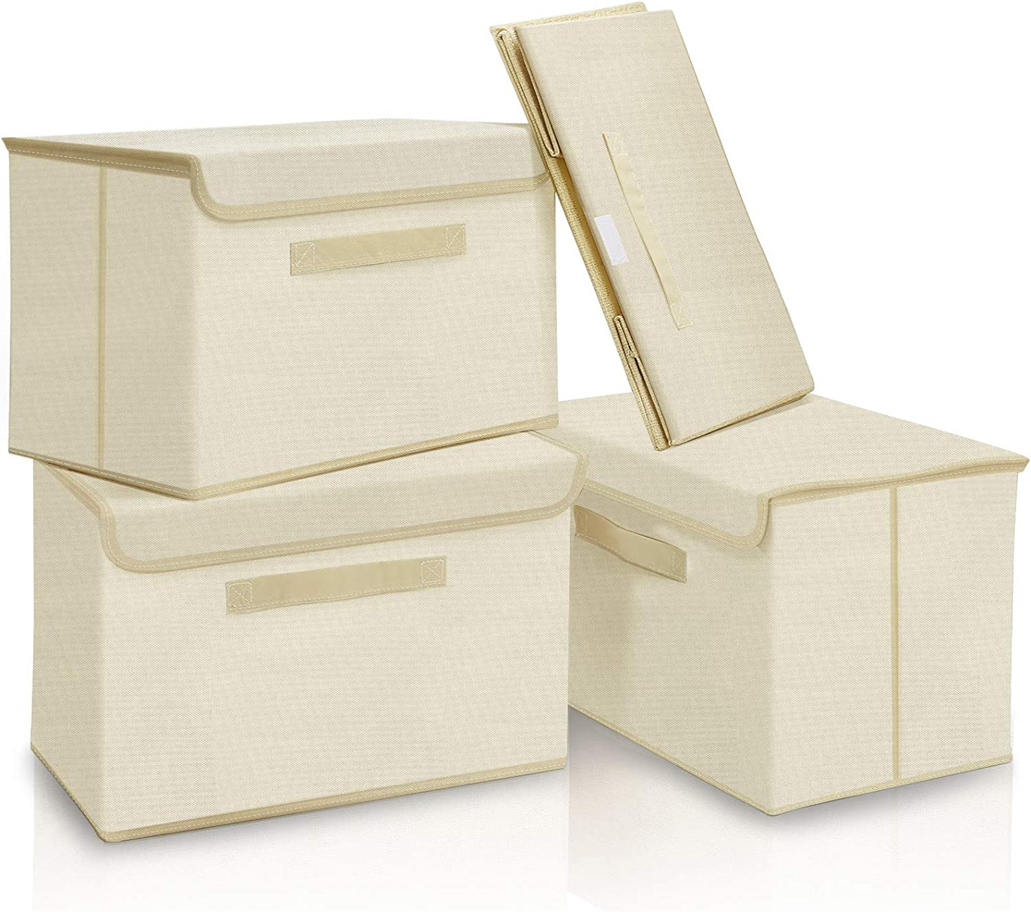 Erebus Large Storage Bins with Lid [4-Pack] Foldable Fabric Storage Box with Lid, Collapsible Storage Cube Organizer Containers Baskets with Cover for Home Bedroom Closet Nursery 15''x10''x10''