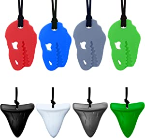 Chew Necklace by GNAWRISHING - 8 Pack(Dinosaur and Shark Tooth)Sensory Chew Necklace Made from Food Grade Silicone - Perfect for Autistic, ADHD, SPD, Oral Motor Children, Kids, Boys, and Girls, Tough