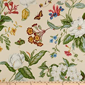 Williamsburg Garden Images Creme Fabric by the Yard