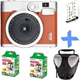 Fujifilm Instax Mini 90 Instant Camera Brown + 40-shot Film + Spare Battery + Case Bundle : all you need to start Instant photography