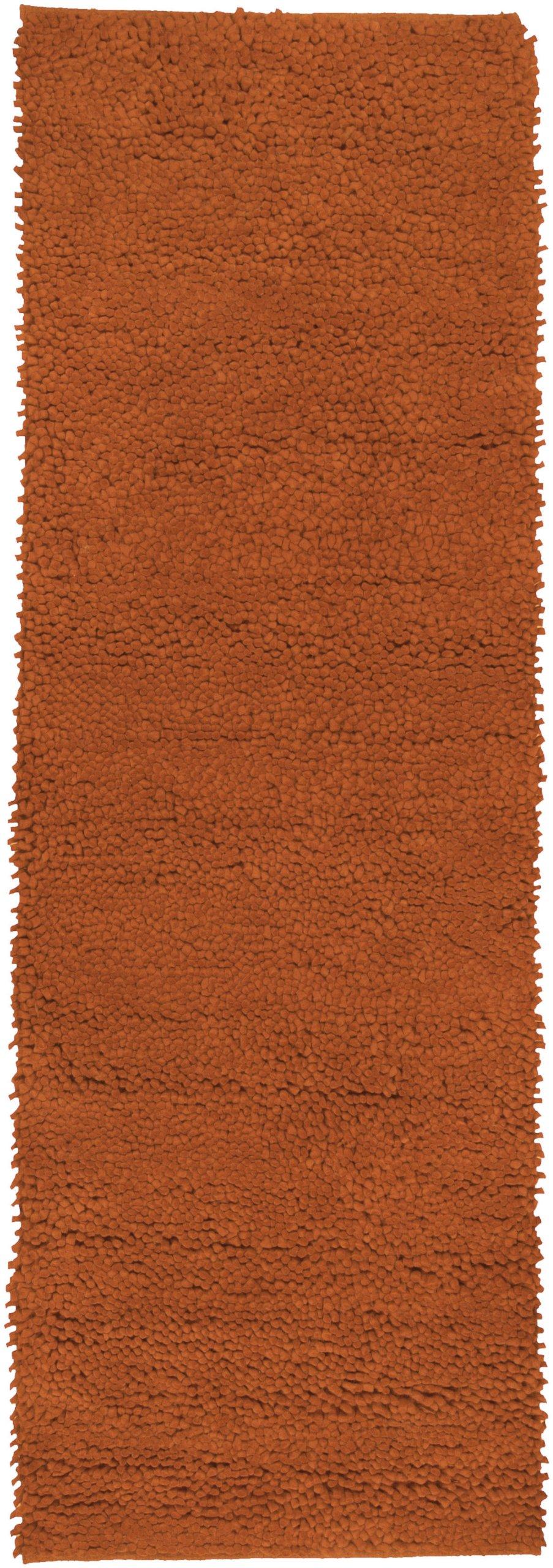 Surya Aros AROS-5 Shag Hand Woven 100% New Zealand Felted Wool Rust Red 2'6'' x 8' Runner