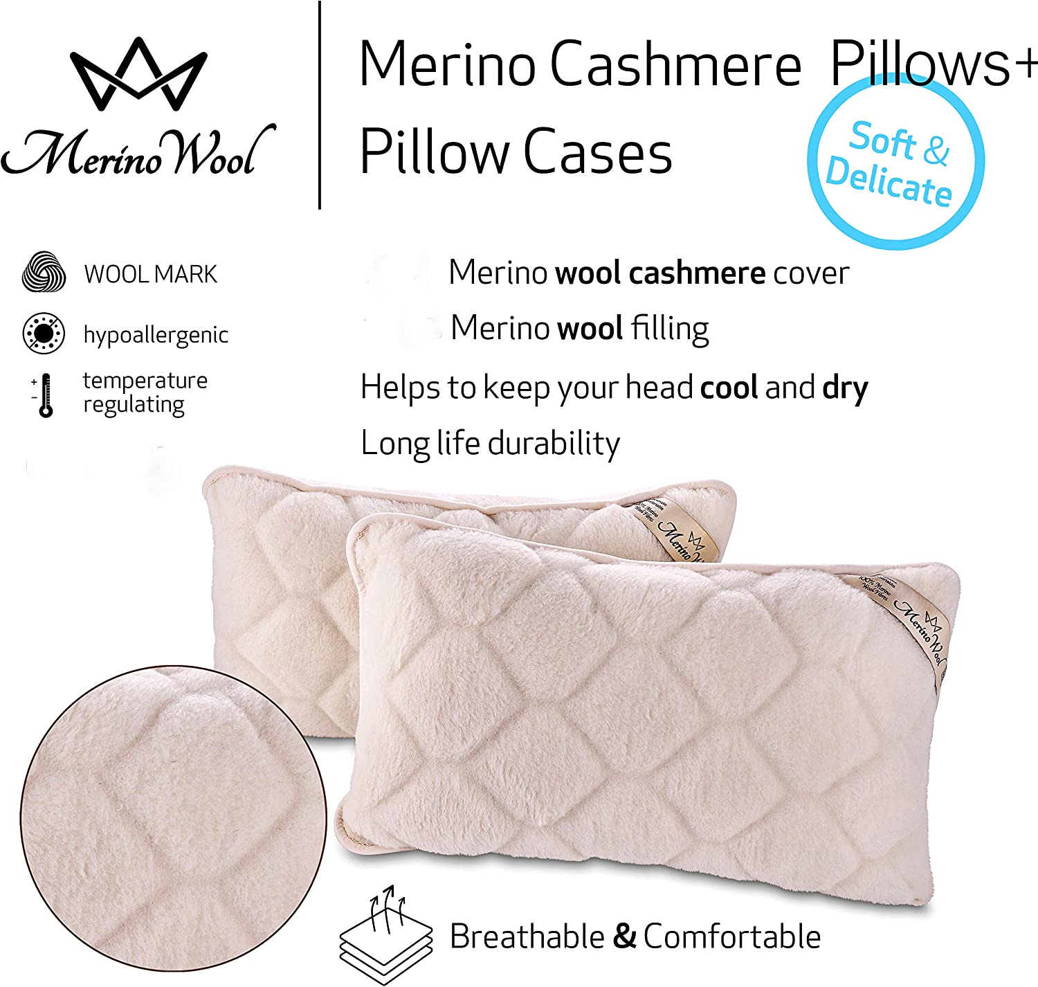 two merino wool pillow cases cover fleece wool natural washable cool