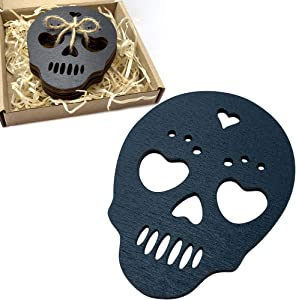 Marolen Black Skull Wooden Coasters - This Spooky Gothic Decor Includes 4 Sugar Skull Coasters - Great Gift for Witchy Home Decor Lovers and as Halloween Home Decorations