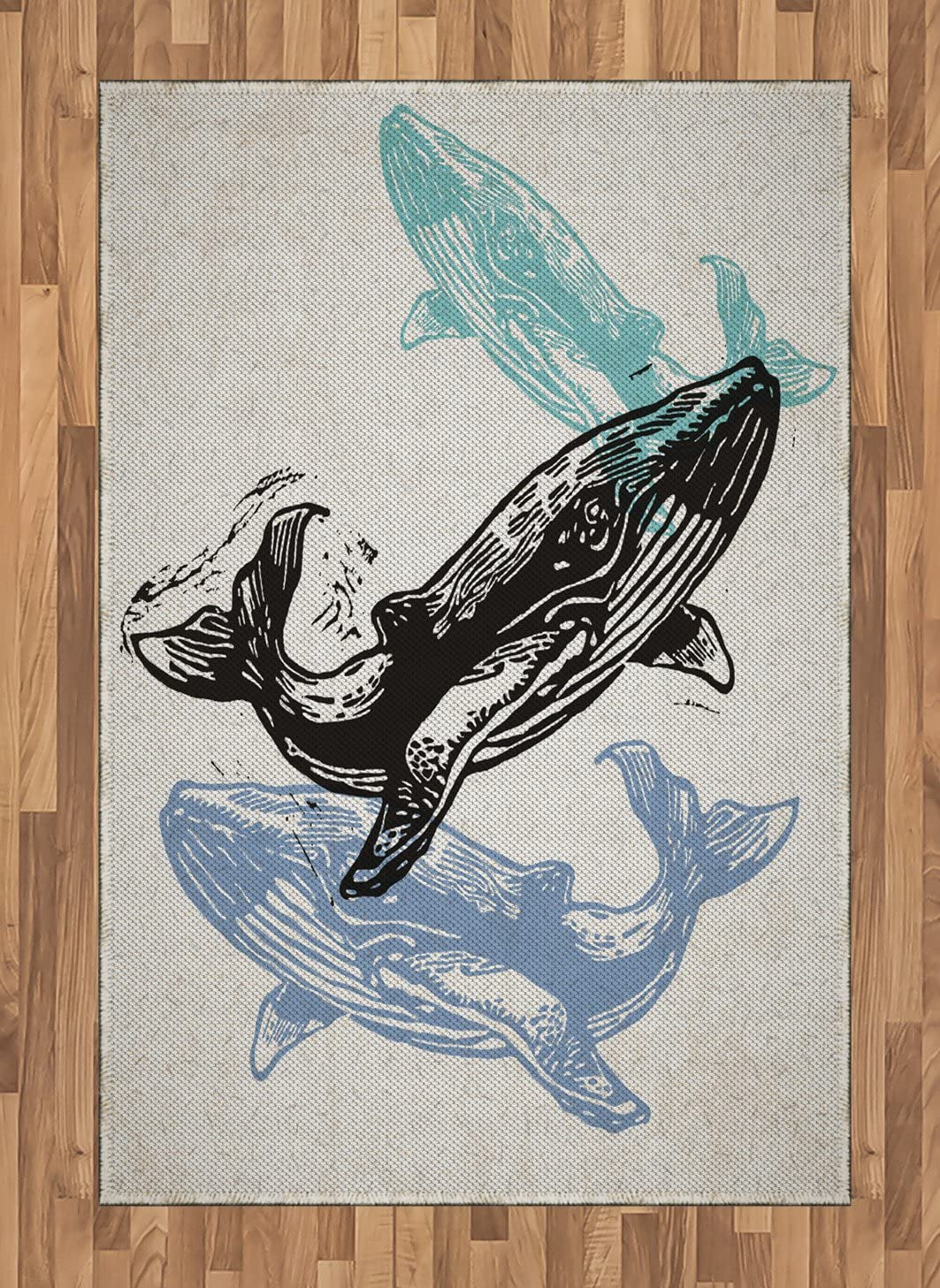 Amazon Com Lunarable Whale Area Rug Linocut Whales In Different Tones Modern Ecology Nautical Graphic Flat Woven Accent Rug For Living Room Bedroom Dining Room 4 X 5 7 Beige Blue Teal Black Kitchen