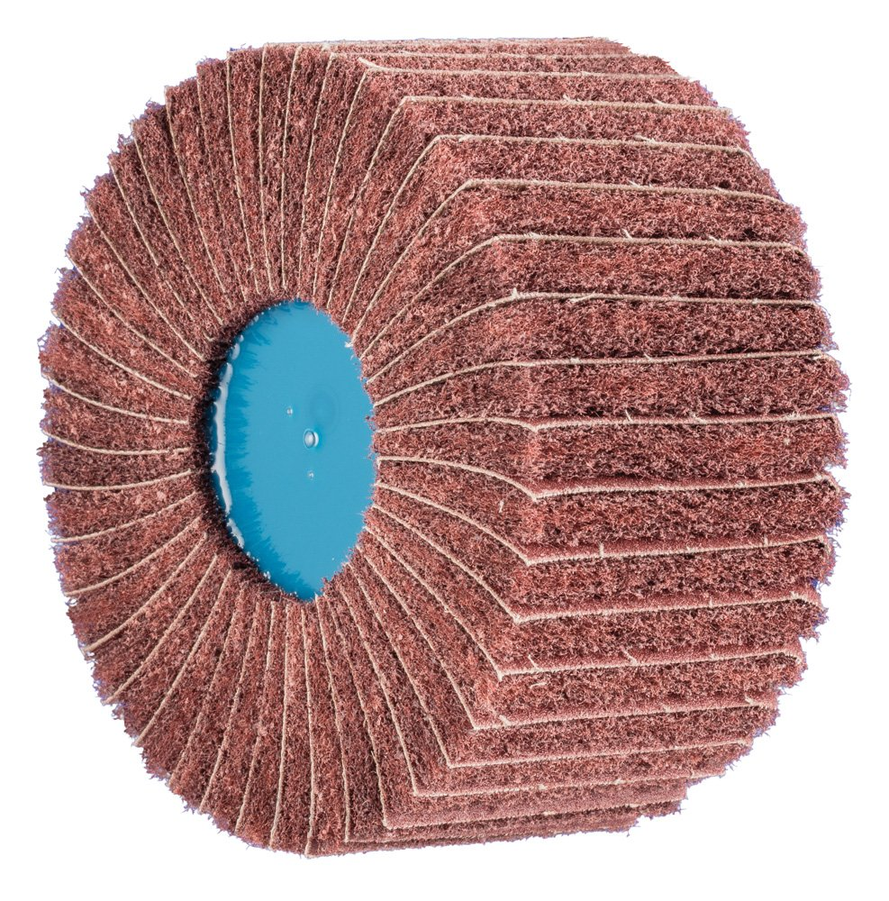 PFERD 43189 POLINOX PNL Non-Woven Abrasive Flap Wheel, Aluminum Oxide, 4'' Diameter, 5/8-11 Thread, 6000 RPM, 180 Grit