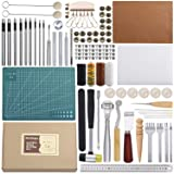 Leather Sewing Tools 44 pcs Leather Craft Tools Kit for Hand Sewing Stitching, Stamping Set and Saddle Making (Color: 44 Leather Sewing Tools)