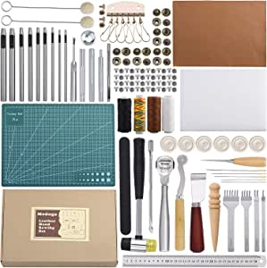 Leather Sewing Tools 44 pcs Leather Craft Tools Kit for Hand Sewing Stitching, Stamping Set and Saddle Making