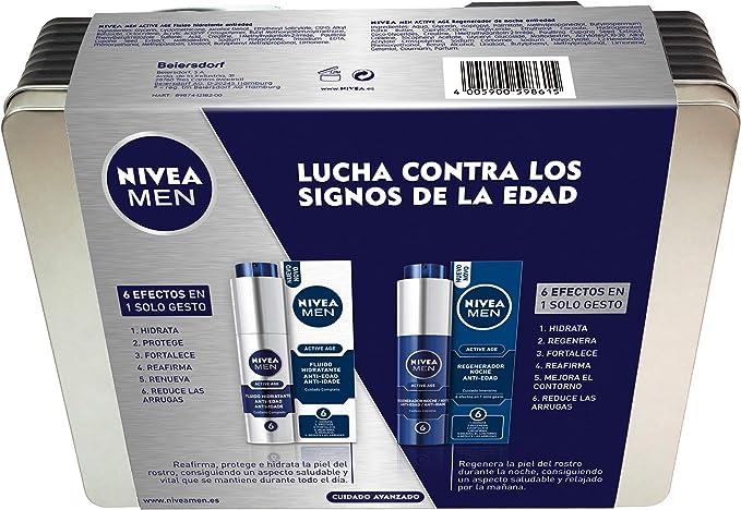 NIVEA MEN Lata Active Age con 2 cremas de día y noche, caja de regalo para el cuidado de la piel, kit de regalo para hombre con cremas con fórmula antiedad: Amazon.es: