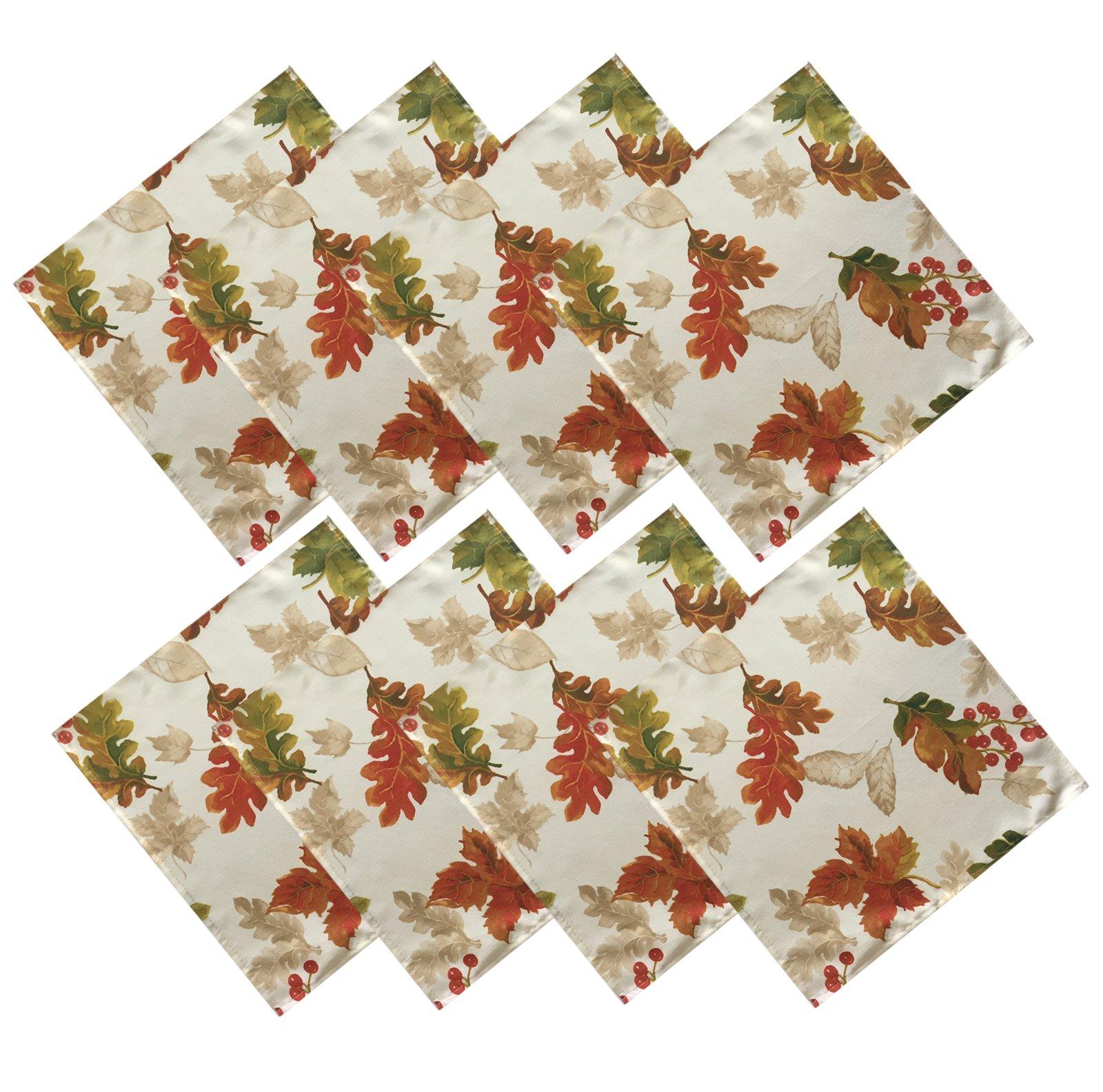 Harvest Swaying Leaves Double Border Autumn Thanksgiving Fabric Print Napkin Set, Set of 8 Napkins