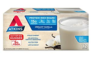 Atkins Gluten Free Protein-Rich Shake, Creamy Vanilla, Keto Friendly, 12 Count (Pack of 1)